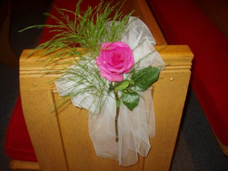 Pew Decorations single rose with greenery 800 each need color